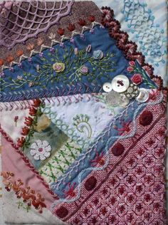 I ❤ crazy quilting & embroidery . . .  Album Amicorum page- The block was pieced a few years ago, my first CQ block ever. Some stitches are old, new ones are TASE and Stitch Explorer stitches. ~By Ritva Peltola