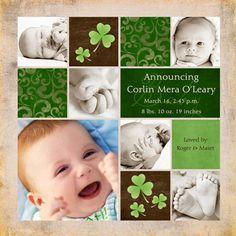 Cute Irish theme baby announcement.