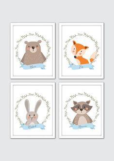 Woodland Nursery Art, Woodland Nursery Prints, Woodland Wall Art, Woodland Animals Nursery, Forest Friends Art, Bear Fox Racoon Rabbit Print