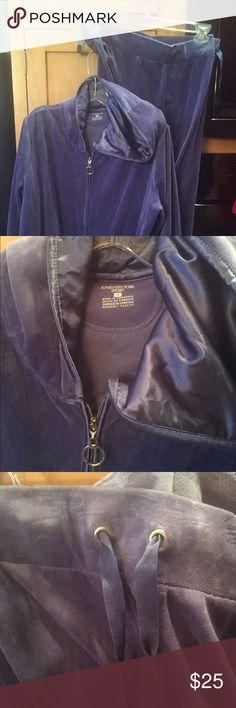 Beautiful velour jacket and pants set Soft velour  pants set. Dusty blue in color. Satin lined hood. Zips up. Drawstring pants. Long pants. Worn once. Jones New York Pants Track Pants & Joggers