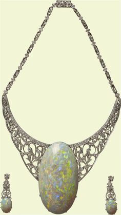 The Andamooka Opal was presented to Queen Elizabeth II in the 1950s on the occasion of her first visit to Australia. It was discovered in Andamooka, South Australia, an historic opal mining town. The opal was cut polished by John Altmann to a weight of 203 carats and was set with diamonds in an 18K white gold necklace.