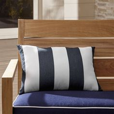 Shop Cabana Stripe Outdoor Lumbar Pillow.  Bold, beach-inspired stripes band in white and charcoal grey on this graphic outdoor pillow.
