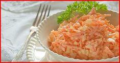 """""""Salata de morcovi cu ouă"""" este o mâncare sănătoasă și dietetică, ideală pentru o cină ușoară. Salata se prepară foarte simplu din doar 5 ingrediente și este asezonată cu smântână, de aceea este hipocalorică și perfectă pentru cei care vor să slăbească. Această gustare este delicioasă, hrănitoare și plină de vitamine. Savurați-o cu plăcere! INGREDIENTE -4 morcovi -5 ouă fierte -2 căței de usturoi -1-2 linguri de smântână -sare după gust Notă:VeziMăsurarea ingredientelor MOD DE PREPARARE… Macaroni And Cheese, Cabbage, Grains, Food And Drink, Low Carb, Vegetables, Ethnic Recipes, Finger Food, Salads"""
