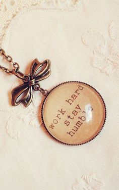 Inspiration Quote Necklace with Work Hard