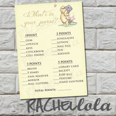 What's in your purse, Classic Winnie the Pooh Baby Shower Game, diy, printable, INSTANT DOWNLOAD