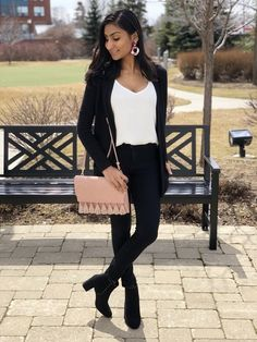 ITS FRIDAY 💃 🤗 All my pieces are on sale for UNDER $15! 🙌🏽 Talk about kick of the weekend right with this cozy black cardigan, tassel bag, black jeans and statement earrings 🙈😌See more at thestyleofshah.com Black Cardigan, Statement Earrings, Tassel, Kicks, Black Jeans, Friday, Cozy, Deco, Bag