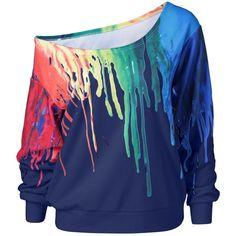 Paint Drip Skew Collar Sweatshirt ($15) ❤ liked on Polyvore featuring tops, hoodies, sweatshirts, blue sweatshirt, collared sweatshirt, blue top and collar top