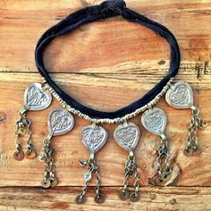 All hearts choker  Vintage Gypsy  Original detailing Pressed metal hearts