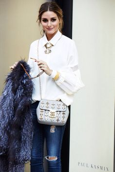 Olivia Palermo white shirt accessorize bag, statement necklace, fur coat, ripper jeans TheyAllHateUs