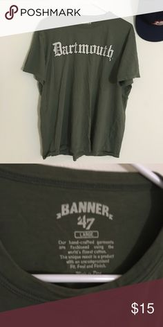 BANNER 47 Dartmouth Tee Crew neck  Short sleeve  Olive green  D on sleeve  100% Cotton  Size: Large  Length: 26in    Condition: No wear, tears or stains.   ☑️No Pets  ☑️Non-Smoking home  ☑️Every item steamed throughly before shipped!  💌 Ships from Santa Monica, CA  🗝Follow me on Instagram! @koukil1908 ask to have a video of the item ✌️ Banner 47 Shirts Tees - Short Sleeve