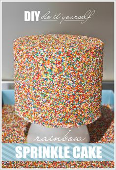 DIY Sprinkle Cake Tutorial  |  TheCakeBlog.com.  It gives me heart palpitations thinking about rolling that stacked cake in the sprinkels.  And picture does not show that it's RAINBOW CAKE inside.  @Deborah 'Davis' White can you make it for my birthday one day?  #cakes #amazing #DIY