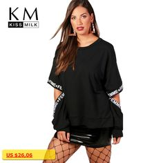 kissmilk 2018 Plus Size Solid Black Women Sweatshirts Hollow Out Letter Printed Casual Female Pullovers Brief Lady Big Size Tops