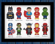 Marvel / DC Superheroes cross stitch pattern PDF - Batman,Spiderman,Superman,Flash,Hulk,Capitan America,Green Lantern,Thor,Ironman,Deadpool