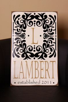 GORGEOUS personalized sign with vinyl - Your last name - unique - wedding, anniversary, bridal shower, housewarming gift idea