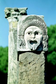 Theatrical mask on top of column. Roman excavations, Ostia Antica, Province of Rome Ancient Ruins, Ancient Artifacts, Ancient Rome, Ancient Greece, Ancient History, Delos Greece, Greek Plays, Myconos, Early Middle Ages