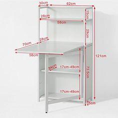 SoBuy® Mesa multimedia con puertas con varios estantes y compartimentos, mesa de ordenador, mesa plegable, mesa de cocina, mesa de comedor, FWT12-W, ES: Amazon.es: Hogar