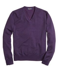 Saxxon® Wool V-Neck Sweater Dark Purple