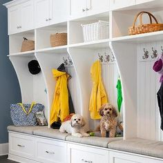 White Mudroom Lockers with Blue Walls
