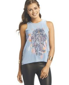 Tribal Elephant Burnout Tank - Wet Seal Tribal Elephant 072f4d4d64e