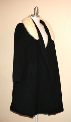 Shagmoor Vintage 50s Black Wool Coat with by InspirationVintage, $65.00