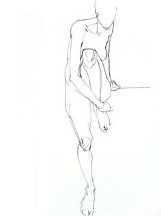 http://www.vanessagarwood.com/project/nude-line-sketch/  - Vanessa Garwood - Nude line sketch  The line creates a silhouette of a woman, her appendages and general body shape visible.