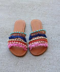 The prettiest spring and summer sandals are here! Our Laken Bohemian Beaded Sandals are slip on style for the perfect casual beach look. Colorful beads, fray and bohemian patterns that are a step up f
