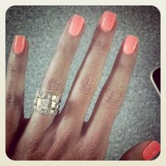 Coral nails. I am obsessed with this color!