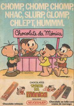Chocolate Neugebauer Turma da Mônica (1989). O único produto que me lembro dessa marca.  A barrinha de morango era gostosa, mas não era muito fácil de encontrar em São Paulo. A outra não me lembro.