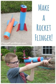 to Make a Pool Noodle Rocket Flinger - Frugal Fun For Boys and Girls How to Make a Pool Noodle Rocket Flinger - DIY Toy!How to Make a Pool Noodle Rocket Flinger - DIY Toy! Vbs Crafts, Crafts For Boys, Camping Crafts, Projects For Kids, Diy For Kids, Space Crafts, Camping Toys, Summer Activities, Craft Activities