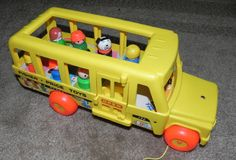 Vintage Fisher Price School Bus with 7 by AlchemyCollectibles, $25.00