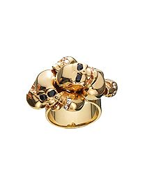 jennifer fisher gold skull ring with white and black diamonds