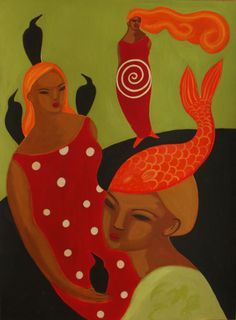 women on green and red by carmenga on Etsy,