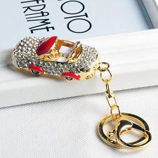 New Red Car Keychain Rhinestone Crystal Keyring Key Ring Chain Bag Pendant Gift