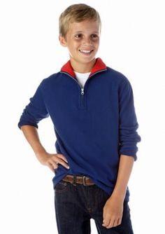 J Khaki   14 Zip Sueded Solid Jersey Sweater Boys 8-20
