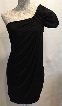 Calvin Klein Women Black One Shoulder Party Cocktail Holiday Dress Size 4 #CalvinKlein #OneShoulder #Cocktail