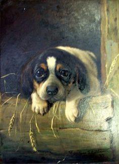 Um foxhound, 1895 Valentine Thomas Garland (Inglaterra, 1868 – 1914) óleo sobre madeira, 28 x 21 cm