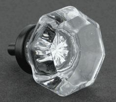 Clear Cut Glass Knob - Octagon w/ Oil Rubbed Bronze 36mm (also available in brushed nickel)