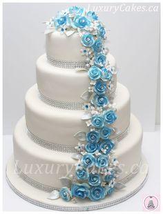 Rose cascade wedding cake
