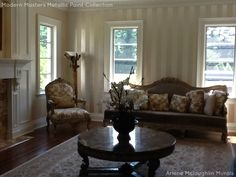 Modern Masters Platinum Metallic Paint used for stripes in a beautiful formal living room | By Arlene Mcloughlin Murals