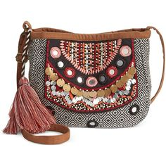 American Rag Embellished Crossbody, (880 THB) ❤ liked on Polyvore featuring bags, handbags, shoulder bags, black combo, crossbody purse, bohemian style handbags, bohemian purse, embellished purses and bohemian shoulder bag