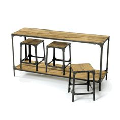 The Console & 3 Stool Set in Reclaimed Wood and Iron is a wonderful addition to your home. Dimensions: L x W x H · Measurements of console. Table Behind Couch, Couch Table, A Table, Kitchen Dining Combo, Kitchen Island, Kitchen Tables, Kitchen Sinks, Kitchen Storage, Kitchen Decor