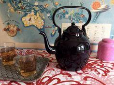 Vintage Enamel Teapot  Black tea pot big tea pot by DioVintageShop