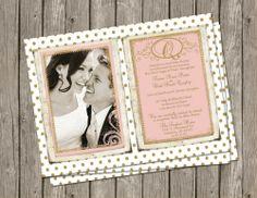 Gold Dot and Blush, Wedding, Invitation Digital file, Printable