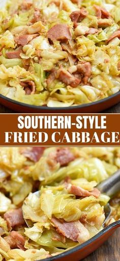 Southern Fried Cabbage - Onion Rings & Things - - Southern Fried Cabbage is the perfect side dish you'll love for family or holiday dinners. It's easy to make with simple ingredients and is loaded with incredible flavor from bacon and spices. Best Side Dishes, Healthy Side Dishes, Vegetable Side Dishes, Side Dish Recipes, Vegetable Recipes, Simple Side Dishes, Holiday Side Dishes, Fried Cabbage Recipes, Bacon Fried Cabbage