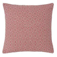 Cuscino rosso e bianco a motivi in cotone 50x50 | Maisons du Monde