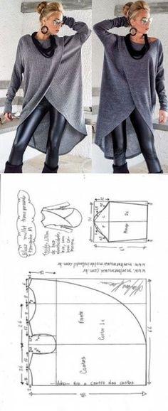 Blusa mullet transpassada para malha   DIY - molde, corte e costura - Marlene Mukai