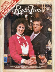 Some of the early episodes of the British soap opera 'EastEnders' when it stared Anita Dobson and Leslie Grantham as Angie and Den, publicans of 'The Old Vic' public house. Radio Times Magazine, First Tv, Old Tv, Classic Tv, The Good Old Days, Short Film, Favorite Tv Shows, Lady In Red, Childhood Memories