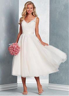 ea726673b1b19c Pretty Tulle V-neck Neckline Tea-length A-line Wedding Dress With Lace