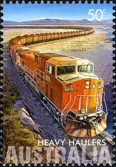 timbres du monde trains/Timbre train - AU036.08 Australie 1er Avril 2008 Les chargeurs lourds.jpg