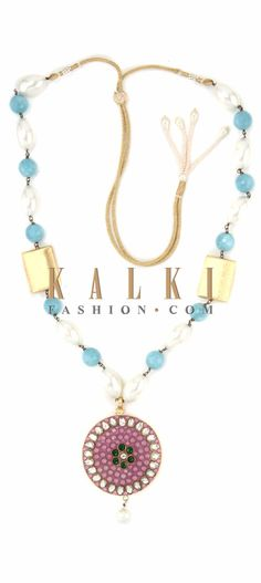 Buy Online from the link below. We ship worldwide (Free Shipping over US$100) Price-$59 Click Anywhere to Tag http://www.kalkifashion.com/white-and-blue-moti-necklace-with-kundan-pendent-only-on-kalki.html
